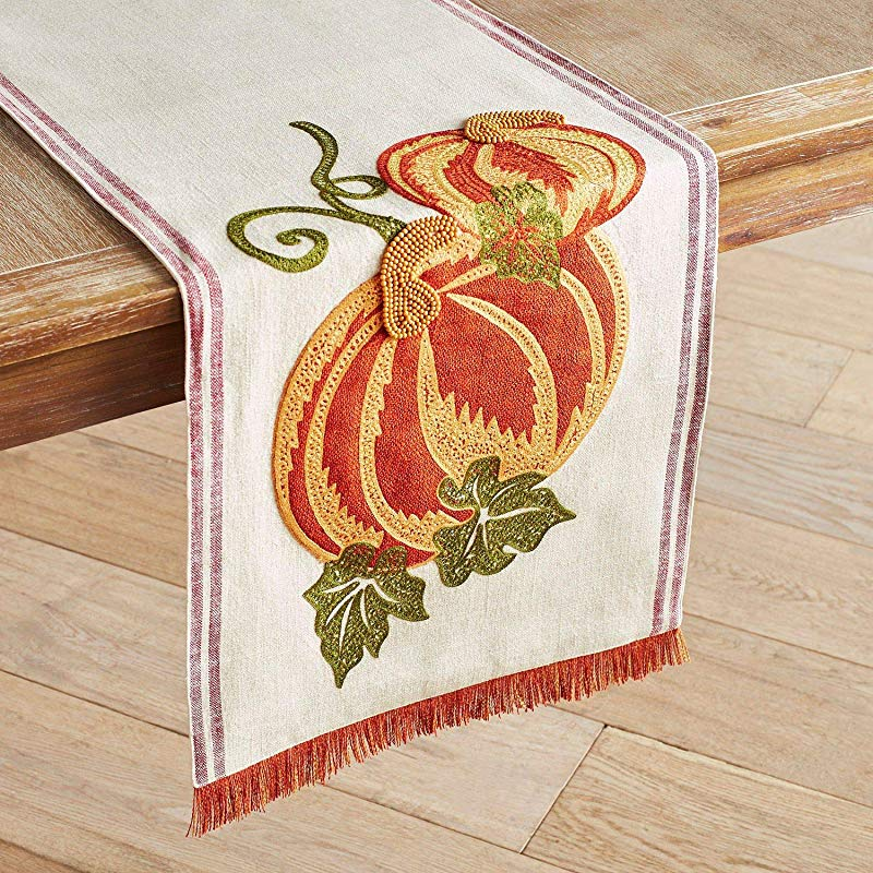 Pier 1 Imports Pumpkin Farm Table Runner With Fringe 72 In