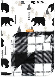 Dear Baby Gear Deluxe Reversible Baby Blankets, Custom Minky Print Black Bears, Black and Grey Plaid Minky