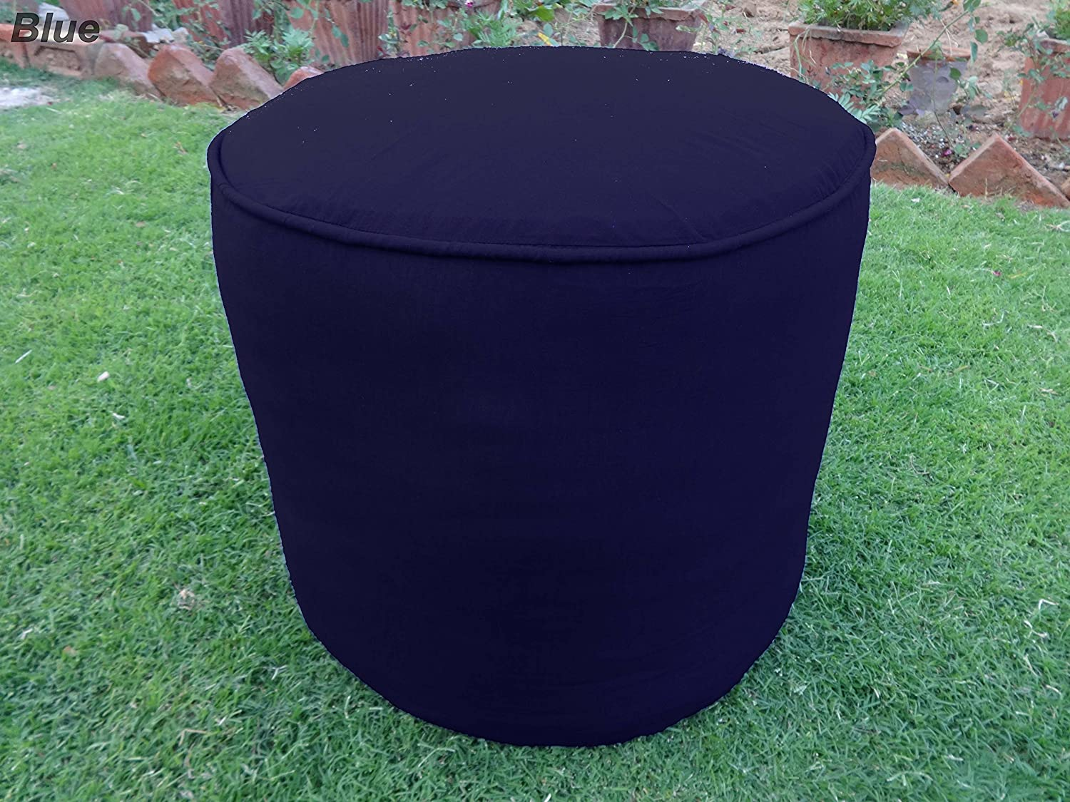 Indianapolis Mall Saffron 100% Cotton Challenge the lowest price Plain Piping Round Ottoman Cover Pouf Throw