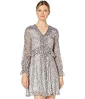 Long Sleeve Mountain Leopard Pintuck Dress