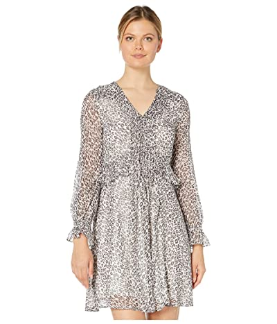 CeCe Long Sleeve Mountain Leopard Pintuck Dress (Soft Pewter) Women