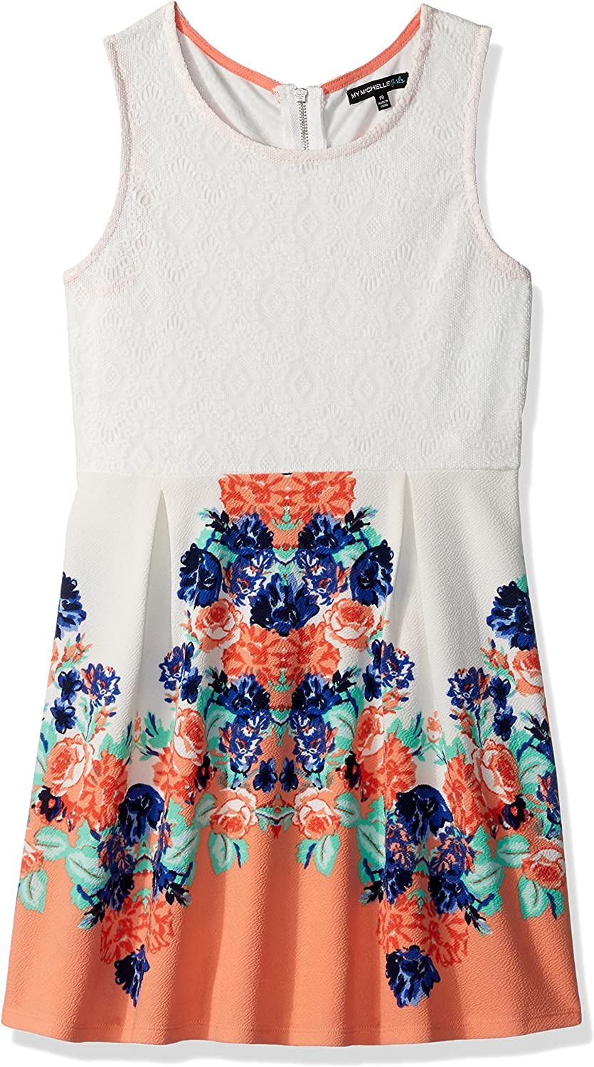 My Michelle Girls' Big Printed Fit and Flare Dress with Crochet