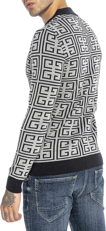 Redbridge Maglione da Uomo in Cotone Pullover con Scollo Rotondo Slim-Fit Square Pattern