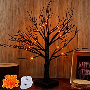 Brwoynn 18 Inch Lighted Black Birch Tree with 24 Pumpkins, Halloween Lighted Tree, Led Tree Light Halloween Decorations for Indoor Office Home Tabletop, Battery Operated
