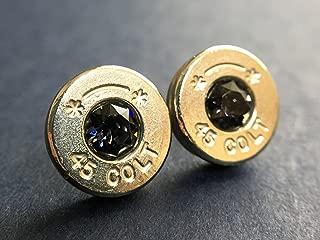 Bullet Casing Earrings Genuine Colt 45 Swarovski Black Diamond Grey