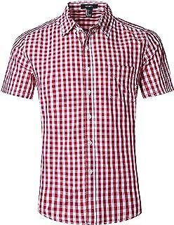 AVANZADA Men's Slim Fit Solid Dress Shirts Button Down Cotton Short Sleeve Shirt Beige