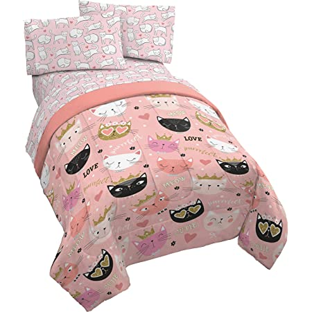 Jay Franco Purrrfect 4 Piece Twin Bed Set - Includes Comforter & Sheet Set - Bedding Features Cats - Super Soft Fade Resistant Microfiber