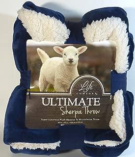 Life Comfort Ultimate Sherpa Throw Dark Blue Cream Blanket 60 Inch x 70 Inch