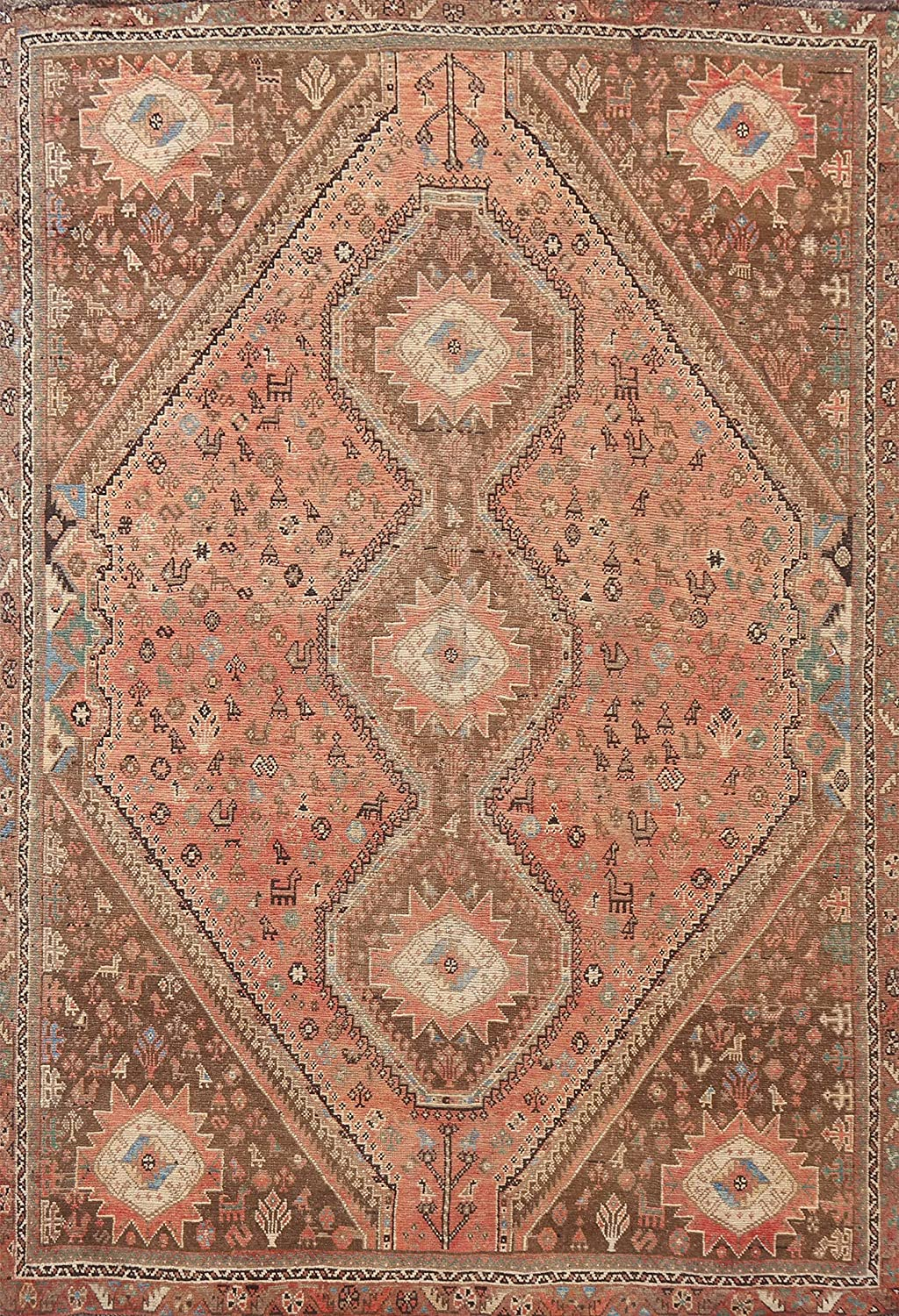 Antique Coral Ranking TOP19 Geometric Oriental Shiiraz Wool Hand-Knot OFFicial mail order Area Rug