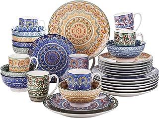 vancasso, Série Mandala, Service de Table Complet en Porcelaine 32 pièces pour 8 Personnes, Assiette Plate, Assiette à Des...