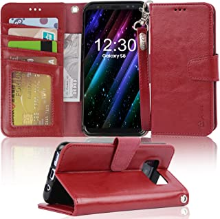 Arae Case Compatible for Samsung Galaxy S8, [Wrist Strap] Flip Folio [Kickstand Feature] PU Leather Wallet case with ID&Credit Card Pockets [Not for Galaxy S8 Plus] (DarkRed)