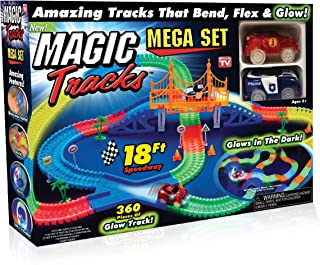 Ontel Magic Tracks Mega Set - 2 LED Race Cars and 18 ft. of Flexible, Bendable Glow in the Dark Racetrack - As Seen on TV