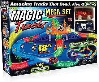 Ontel Magic Tracks Mega Set - 2 LED Race Cars & 18 ft. of Flexible, Bendable Glow in the Dark Racetrack - As Seen on TV