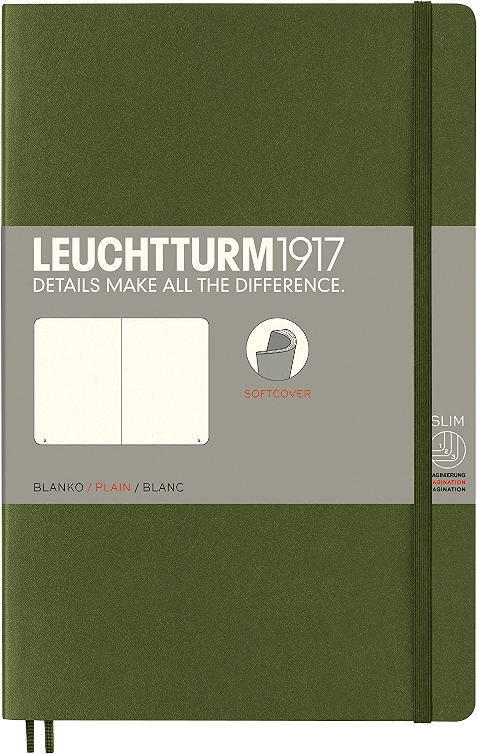 Leuchtturm1917 B6 Softcover Notebook, 5 by 7.5 inches, 123 Blank Pages, Army (358322)