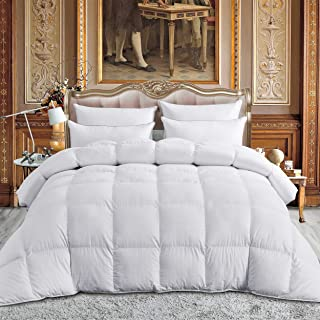 Luxurious All-Season King/California King Goose Down Comforter Duvet Insert, Exquisite Dobby Checkered Design, 1200 Thread Count 100% Egyptian Cotton, 750+ FP, 65 oz Fill Weight, Baffle Box, White