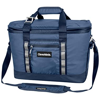 CleverMade Maverick Collapsible Cooler Bag - 50 Can Insulated Leakproof Soft Sided Beverage Tote with Shoulder Strap, Bottle Opener and Storage Pockets, Navy