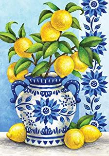 Custom Decor Blue Willow & Lemons - Standard Size, 28 x 40 Inch, Decorative Double Sided, Licensed and Copyrighted Flag - Printed in The USA Inc.