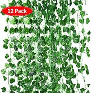 June Fox 12 Strands Artificial Ivy Garland, Faux Ivy Leaf Fake Plant Vine Decoration for Home Wall Wedding Party Garden Office Kitchen, 82.68 Feet, Green