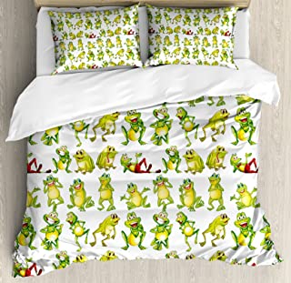 Ambesonne Nursery Duvet Cover Set, Frogs in Different Positions Funny Happy Expressions Faces Toads Cartoon, Decorative 3 Piece Bedding Set with 2 Pillow Shams, Queen Size, Green Yellow