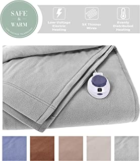 SoftHeat by Perfect Fit | Luxury Fleece Electric Heated Blanket with Safe & Warm Low-Voltage Technology (Twin, Gray)