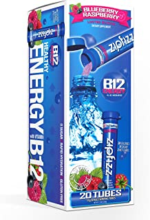 Zipfizz Energy Drink Mix, Hydration with B12 and Multi Vitamins, Blueberry Raspberry, 20 Count