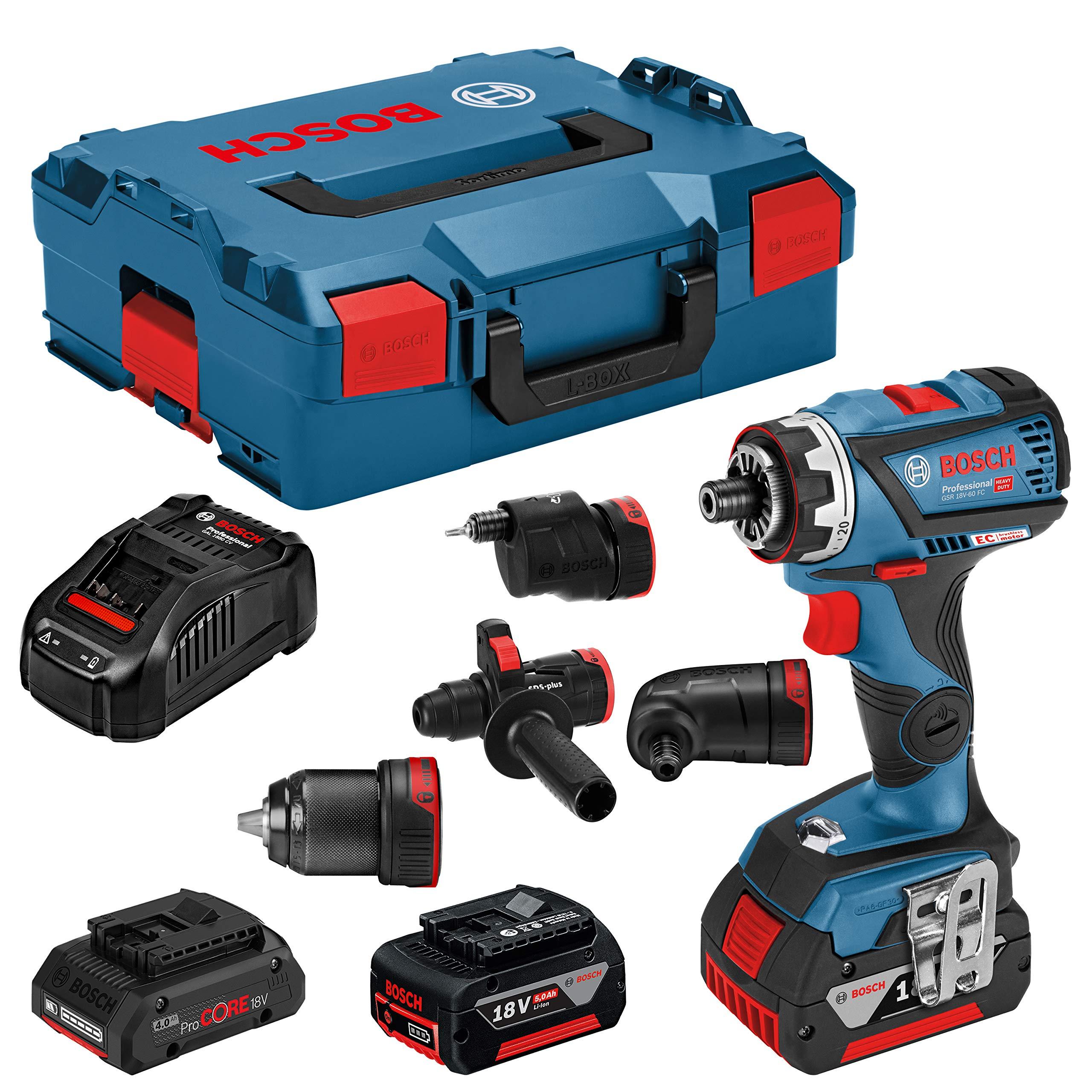 Bosch Professional GSR 18V-60 FC + ProCORE18V 4.0Ah Akku-Bohrschrauber 18V 5Ah Li-Ion Incl. 3. batería Recargable,: Amazon.es: Bricolaje y herramientas