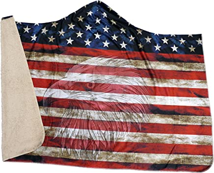 Cozy Threads American Flag with Eagle Hooded Blanket (Large (80x60))
