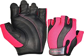 XTRIM - AEGIS - HOT PINK -( S / M/ L ) WOMEN'S LEATHER GYM FITNESS TRAINING GLOVES - Washable Real Leather, Durable, Double Stitched, 4-way Stretch Back Mesh, Half Finger Length, No Sweat, Extra Foam Padded, Luxurious Closure. Uses: Weight Lifting, Gym Gloves, Fitness Gloves, Work out Gloves, Palm Protection, Cross Country, Comfort, No Calluses, Grip Strength, Gift For Women.