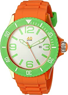 40Nine Men's 40NINE01/ORG1 Extra Large 50mm Analog Display Japanese Quartz Orange Watch