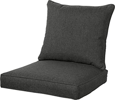 Amazon Com Qilloway Outdoor Indoor Deep Seat Chair Cushions Set All Weather Large Size Replacement Cushion For Patio Furniture Charcoal Grey Black Garden Outdoor