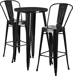 Flash Furniture 24'' Round Black Metal Indoor-Outdoor Bar Table Set with 2 Cafe Stools
