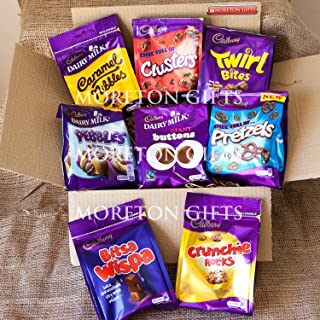 Cadbury 8 Chocolate Share Bags Extravaganza Special Edition Box - Perfect Mother's Or Father's Day Gift - Buttons, Caramel Nibbles, Twirl Bites, Crunchie Rocks, Pretzels, Clusters, Dairy Milk Pebbles & Bitsa Wispa - By Moreton Gifts