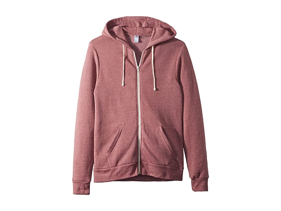 Alternative Rocky Eco-Fleece Zip Hoodie (Eco True Autumn Red) Men