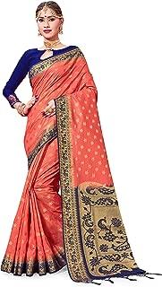 ELINA FASHION Sarees for Women's Banarasi Art Silk Woven Work Saree l Indian Wedding Ethnic Sari & Blouse Piece