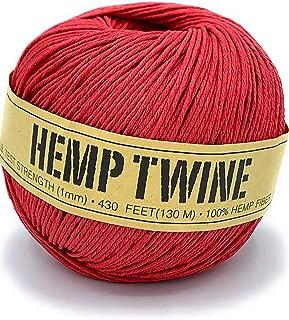 Hemp Twine Balls Size 1mm, 143yd 130m 430ft Each Ball DIY Mulitple Color Options (Red)