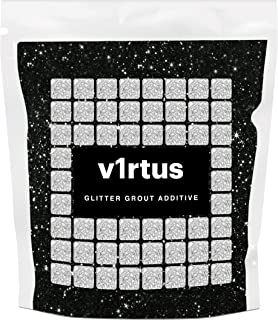 v1rtus Black Glitter Grout Tile Additive 100g / 3.5oz for Wet Room Bathroom Kitchen Sparkle finish, Easy to use. Add/Mix with Epoxy Resin or Cement Based Grout, Heat Resistant, Colour Fast, Non Rust