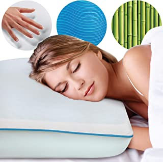 SHARPER IMAGE Memory Foam Pillow with Molded Blue Gel Layer, Special Cooling Technology and Medium Support Visco Elastic Core