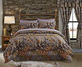 Regal Comfort The Woods Grey Camouflage Full 8pc Premium Luxury Comforter, Sheet, Pillowcases, and Bed Skirt Set Camo Bedding Set for Hunters Cabin or Rustic Lodge Teens Boys and Girls
