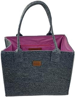 Venetto Filztasche Handtasche Damentasche Damen Henkeltasche Umhängetasche Einkaufstasche Shopper Tasche aus Filz (grau-pink)