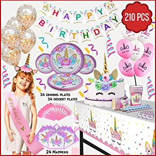 210 PCs Unicorn Party Supplies for girls with Happy Birthday Banner, Unicorn Cake Topper, Headband & Sash, Dinning & Dessert plates,Tablecloth,Cups,Forks & Spoons Set,15 balloons, Napkins