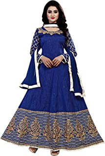 Ethnic Empire Women's Georgette Semi Stitched Salwar Suit(Ethnic_ER106121_ Blue_Free Size)