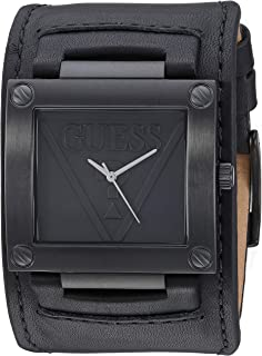 GUESS  Black Genuine Leather Cuff Watch. Color: Black (Model: U1166G2)