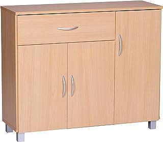 Wohnling WL1 333 cómoda 90 x 75 cm con 3 puertas y 1 cajón madera de haya