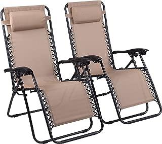Naomi Home Zero Gravity Lounge Patio Outdoor Recliner Chairs Cream/Set of 2