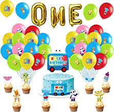 Haooryx 48Pcs Word Party 1st Birthday Party Favor Kit, Happy Birthday Cake Cupcake Toppers Set Cartoon Latex Balloons Gold...