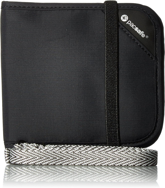 Pacsafe Rfidsafe V100 Anti-Theft RFID Blocking Bi-fold Wallet, Black, One Size