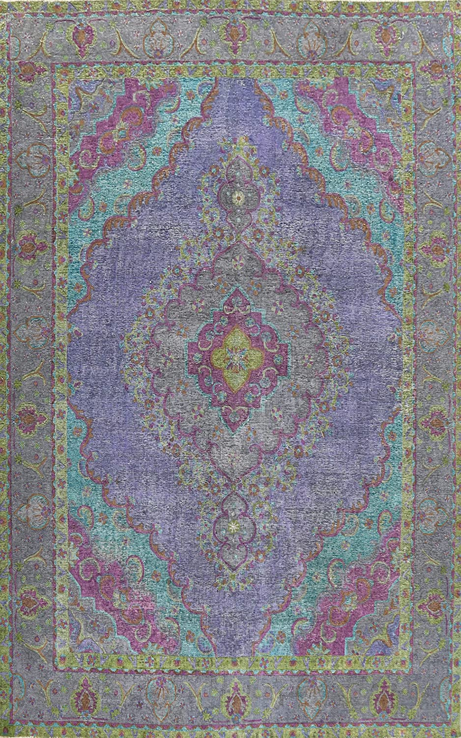 Antique Distressed Blue Tebriz Oriental Rug Area San Jose Mall Special Campaign Wo Hand-Knotted