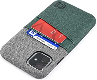 Dockem Luxe M2 Card Case for iPhone 11 (6.1): Built-in Invisible Metal Plate, Designed for Magnetic Mounting: Slim Canvas Style Synthetic Leather Wallet Case (Green & Grey)