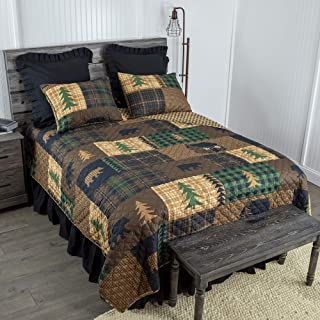 Donna Sharp King Bedding Set – 3 Piece – Brown Bear Cabin Lodge Quilt Set..