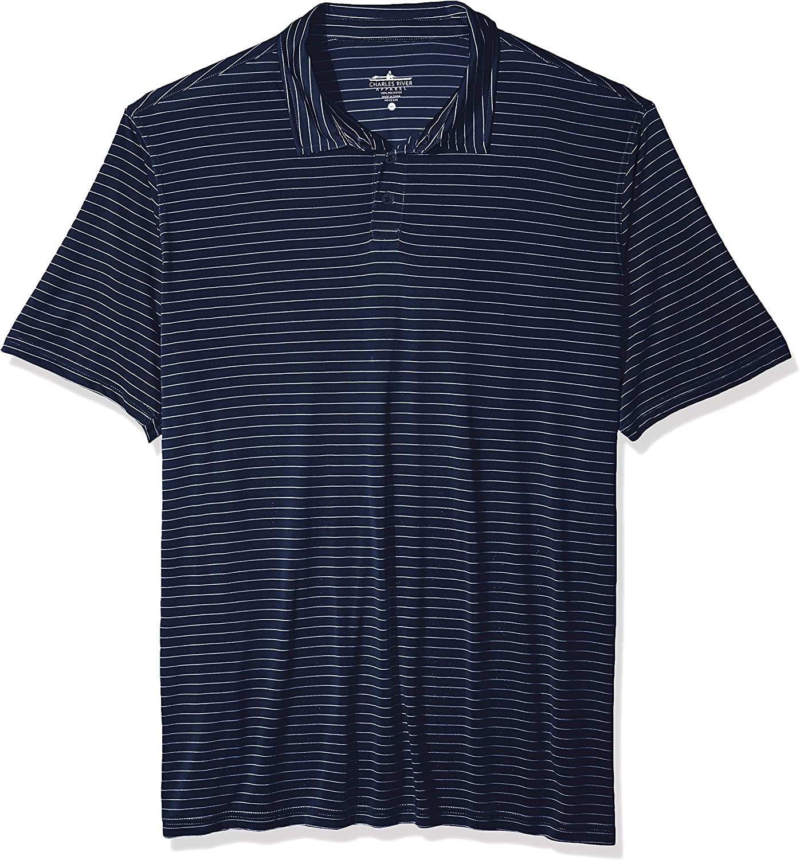 Charles River Apparel Men's Wellesley Polo Shirt, Navy/White Stripe, 5XL